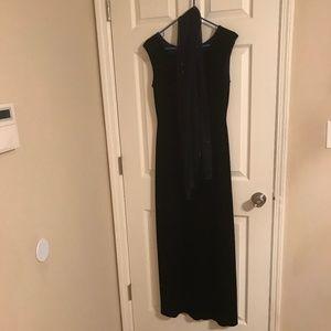 Reggio Long Navy Blue  Faux Velvet Dress 8